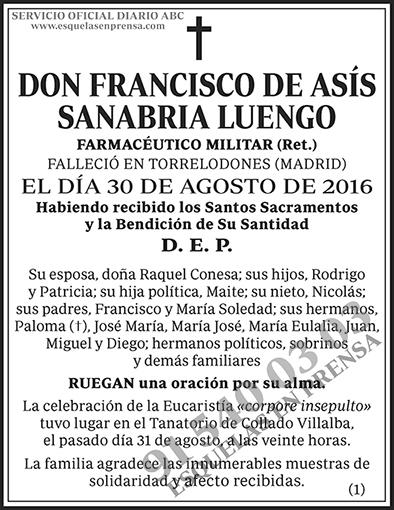 Francisco de Asís Sanabria Luengo